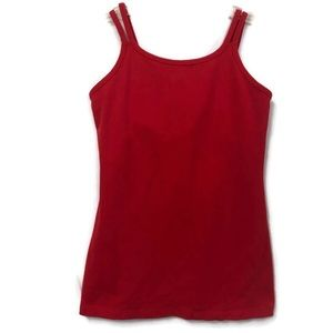 BEYOND YOGA RED DOUBLE STRAP TANK S
